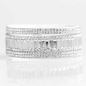 Bracelet - First Class Shimmer White Snap Closure
